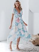 Sexy chiffon Vneck print dress wholesale women39s fashion clothes NHDE198610