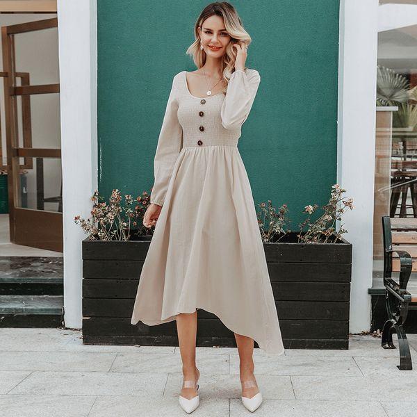 Fashion women's dress wholesale round neck long sleeve dress NHDE198612