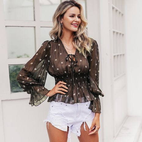 Sexy brown mesh polka-dot top wholesale women's fashion clothes NHDE198619's discount tags