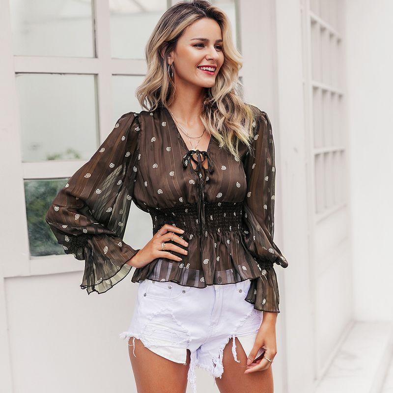 Sexy brown mesh polka-dot top wholesale women's fashion clothes NHDE198619