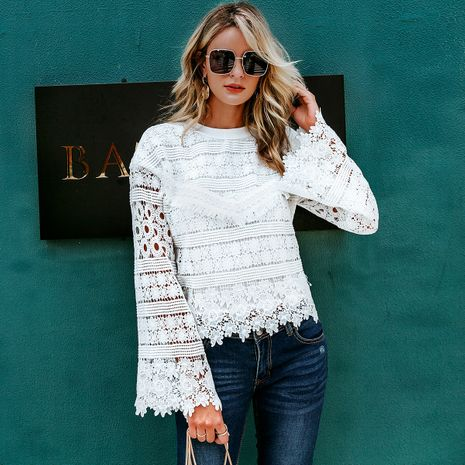 Sweet White Hollow Lantern Sleeve Top Wholesale women's fashion clothes NHDE198623's discount tags