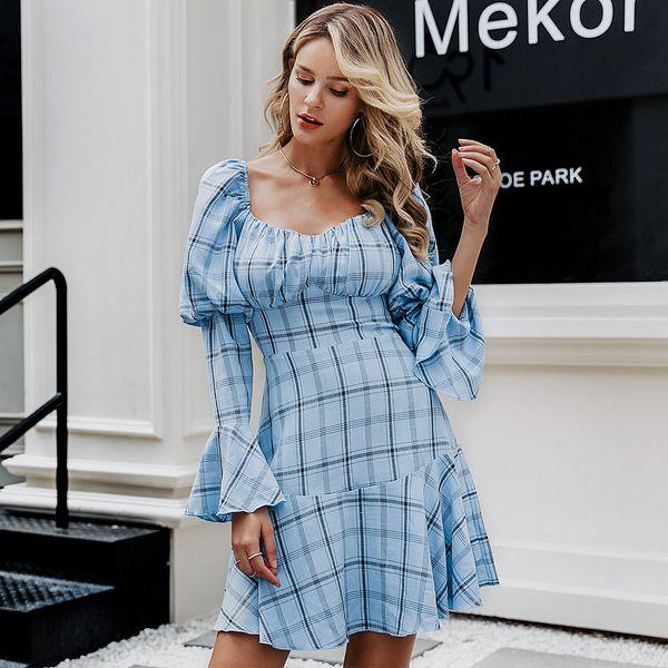 Moda azul comprobado vestido dulce al por mayor ropa de mujer NHDE198625