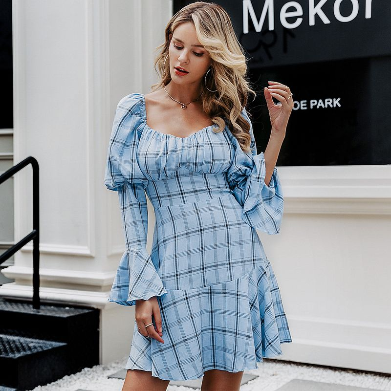 Fashion blue checked sweet dress wholesale women's clothes NHDE198625