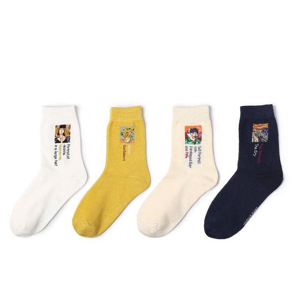Vintage Van Gogh Cotton Socks Fashion Mona Lisa Oil Painting Socks Women NHQY198577