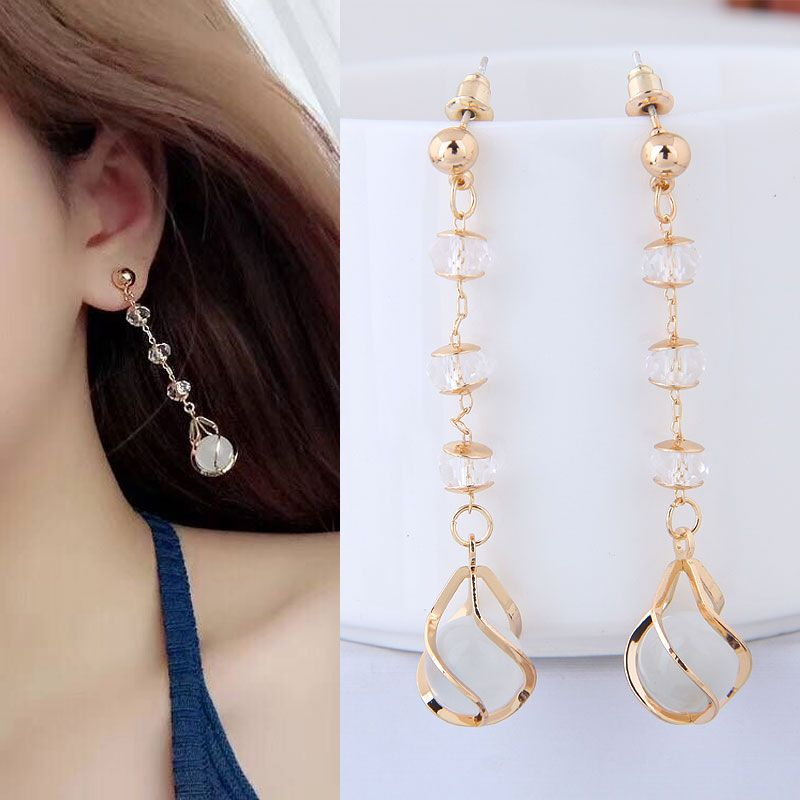 Korean jewelry earring earrings simple water drop jade personalized earrings NHSC199111