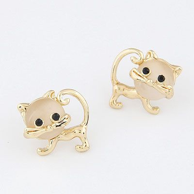 Moda coreana dulce ópalo lindo gato personalidad flash diamantes pendientes NHSC199113's discount tags