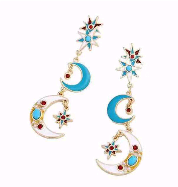 European and American fashion metal wild stars moon personality gas earrings NHSC199117