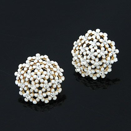 Fashion earrings Korean fashion sweet diamond flower earrings NHSC199116's discount tags