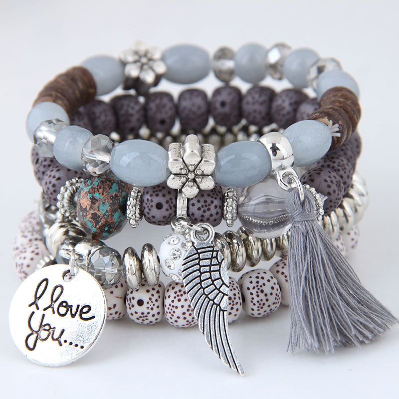 Simple Wild Disc Love Wings Tassel Personality Bead Temperament Multi-layer Bracelet NHSC199110