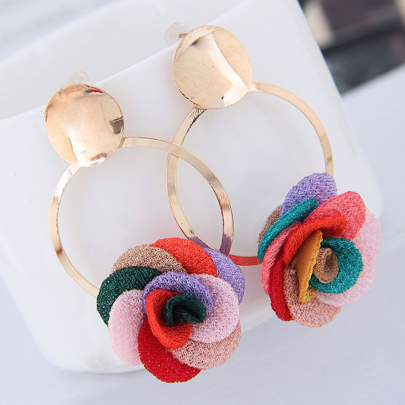Metal simple and sweet fabric small flower personality celebrity style female earrings NHSC199103