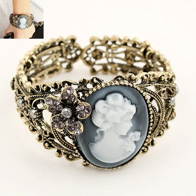 Korean atmospheric retro lady embossed hollow opening bracelet NHSC199102's discount tags