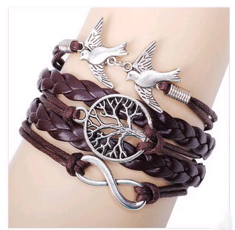 Vintage tree of life bracelet bird alloy accessories handmade multilayer woven bracelet NHSC199101