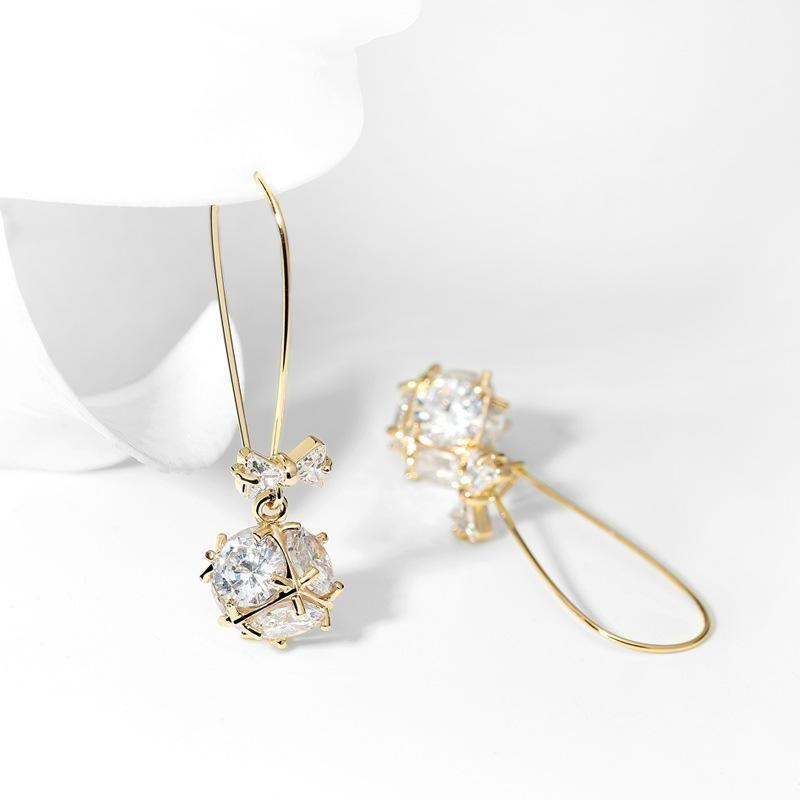Women's personalized bow ball design long elegant earrings women NHPP198628