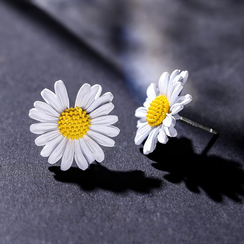 925 silver needle small daisy cute sweet atmosphere personality flower earrings female NHPP198634