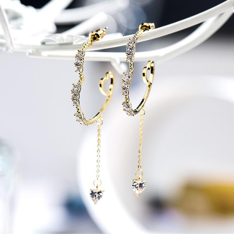 Hong Kong style love elegant new 925 silver needle long atmospheric creative earrings NHPP198641