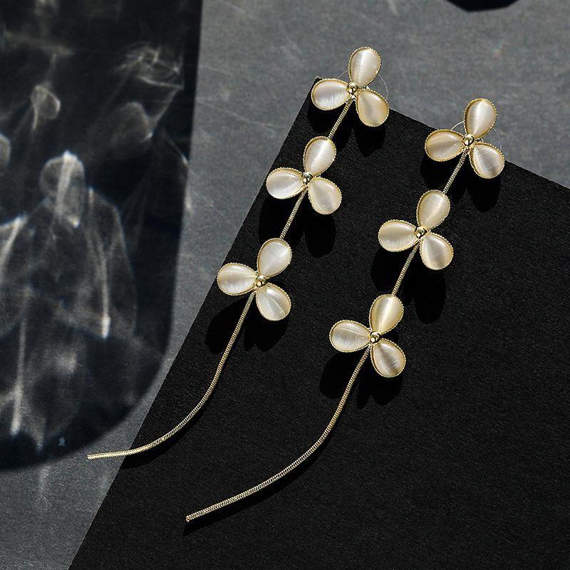 925 silver pin fresh atmosphere elegant simple flower earrings wholesales fashion NHPP198644