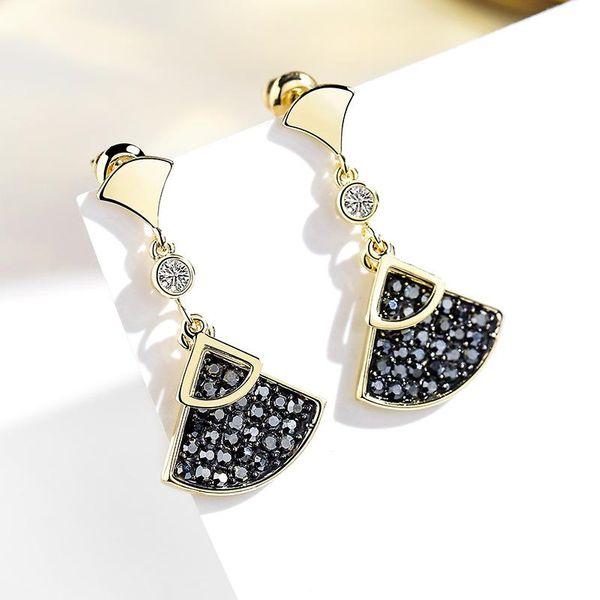 925 silver pin fan-shaped wild sweet fresh atmosphere simple earrings NHPP198645