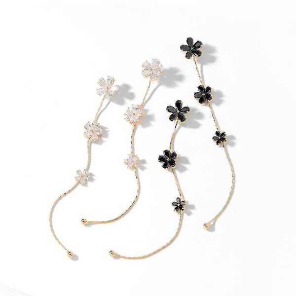925 Silver Needle Flower Long Fashion Individual Earrings NHPP198658
