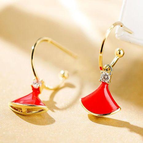 925 silver pin fan-shaped simple atmosphere fashion elegant earrings women NHPP198665's discount tags