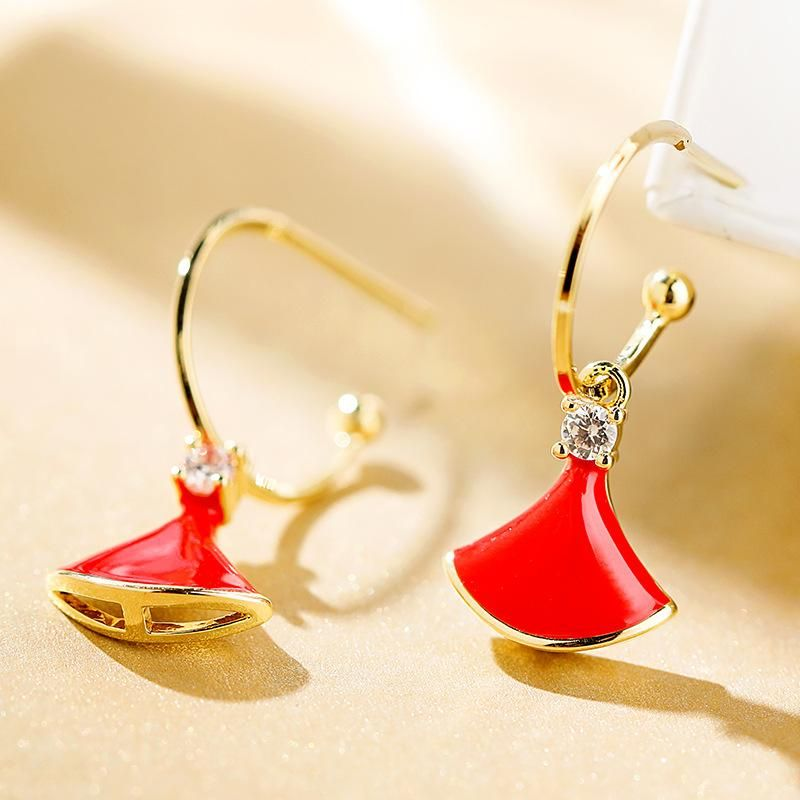 925 silver pin fan-shaped simple atmosphere fashion elegant earrings women NHPP198665