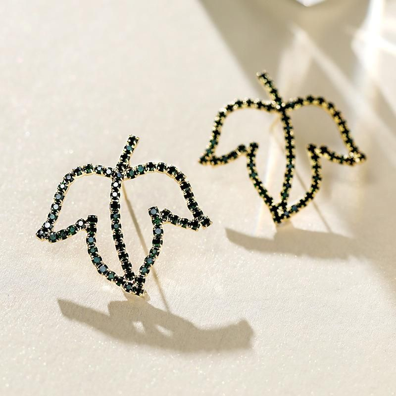 Fashion 925 silver needle maple leaf exaggerated green earrings for women NHPP198666