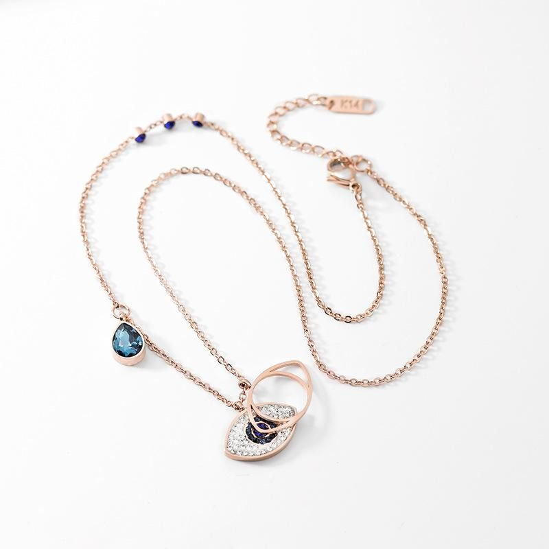 Personality Devil's Eye Short Fashion Rose Gold Titanium Steel Necklace Women NHPP198674