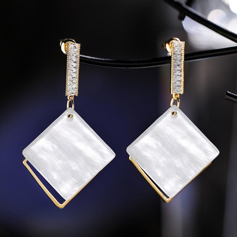 925 silver needle rhombus geometric personality elegant wild earrings women wholesales fashion NHPP198675