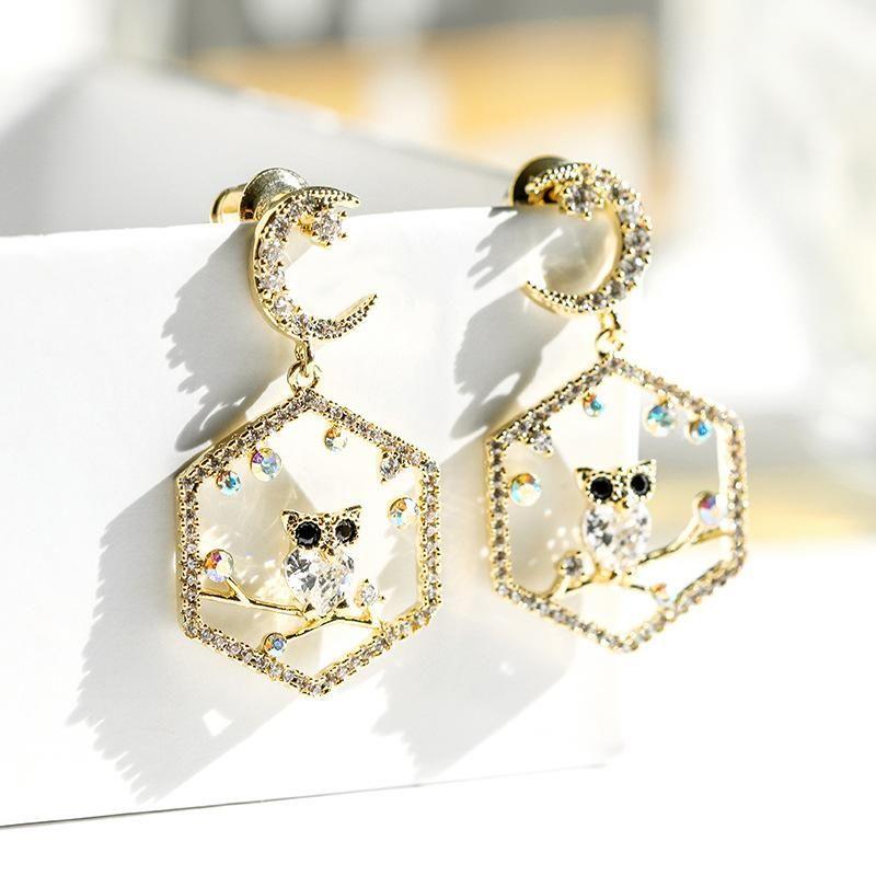 925 silver pin owl personality fashion new earrings wholesales fashion NHPP198681