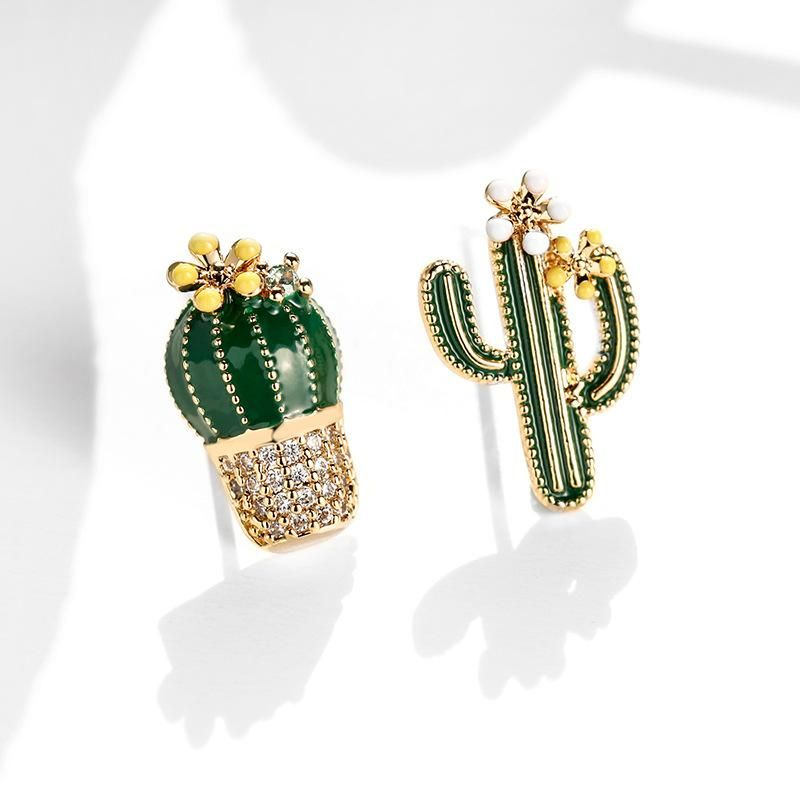 925 Silver Needle Cactus Wild Asymmetric Personality Earrings wholesales fashion NHPP198686