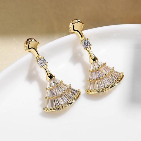Fashion wild fan-shaped skirt personality full diamond earrings women wholesales fashion NHPP198688's discount tags