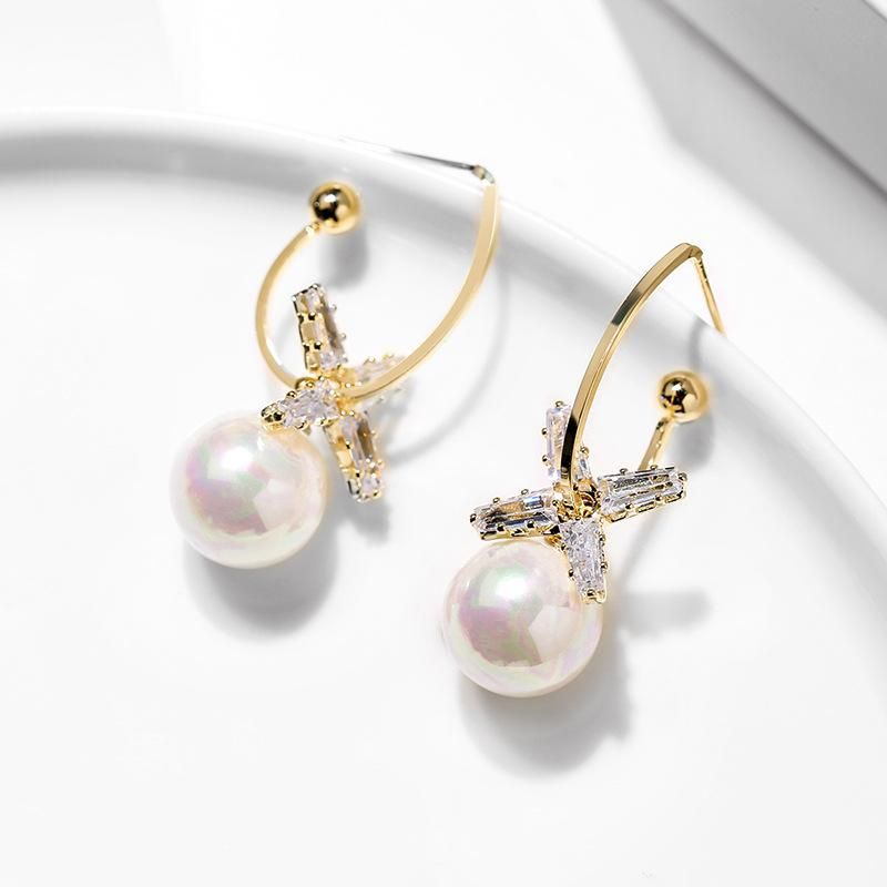 925 Silver Pin Imitation Pearl Elegant Creative Wild Earrings wholesales fashion NHPP198694