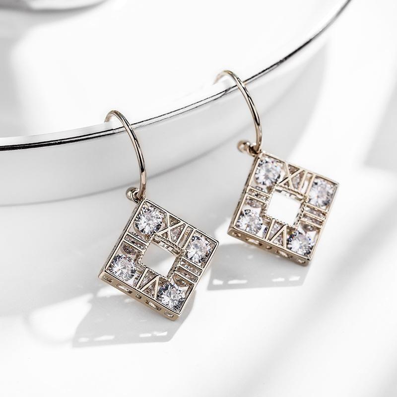925 silver pin Roman numerals simple temperament fashion creative earrings NHPP198697