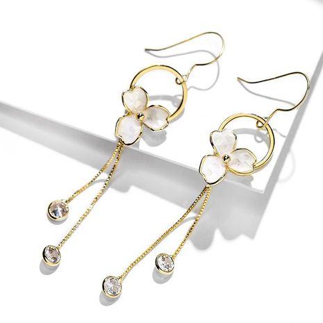 925 silver hook tassel flowers long fashion wild earrings women NHPP198699's discount tags