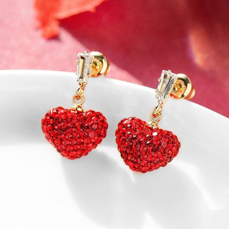 925 silver pin red sweet love synthetic crystal elegant earrings for women NHPP198707's discount tags