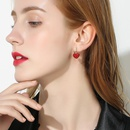 925 silver pin red sweet love synthetic crystal elegant earrings for women NHPP198707