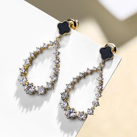 925 Silver Needle Clover Fashion Long Joker Pendant Earrings NHPP198708's discount tags