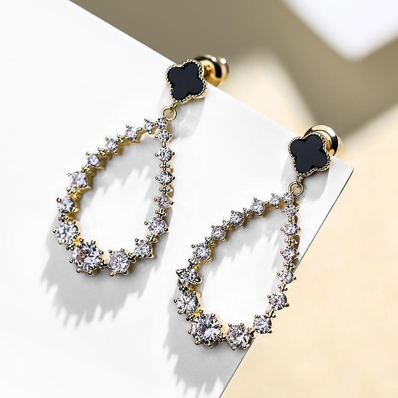 925 Silver Needle Clover Fashion Long Joker Pendant Earrings NHPP198708