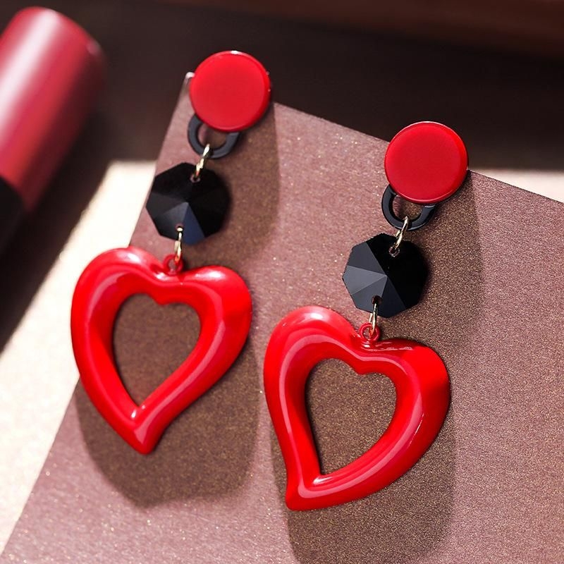 925 silver pin exaggerated red love wild sexy earrings women NHPP198710