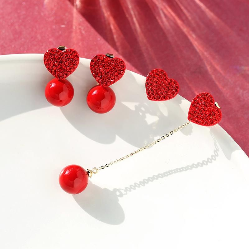 925 silver pin red temperament love asymmetric festive personality earrings female NHPP198711