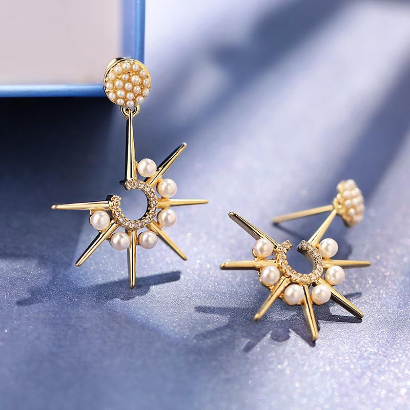 925 Silver Needle Personality Star Exaggerated Atmospheric Earrings Creative Eight Stars Wild Earrings NHPP198712
