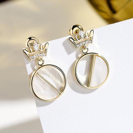 925 silver needle wild atmospheric crown elegant earrings women NHPP198715's discount tags
