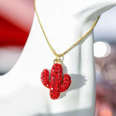 Red pendant cactus personality elegant atmosphere short money chain women NHPP198716's discount tags