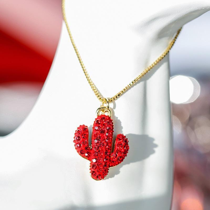 Red pendant cactus personality elegant atmosphere short money chain women NHPP198716