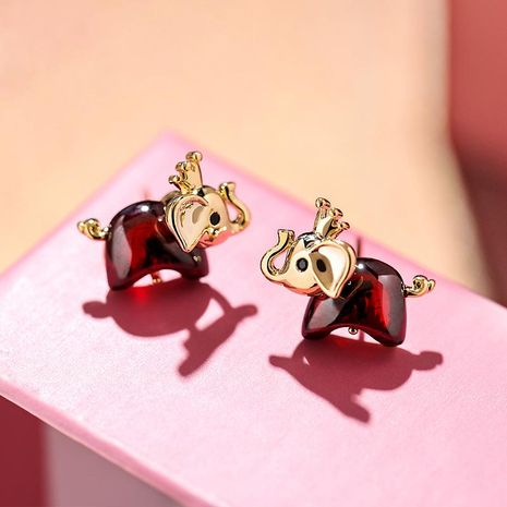 925 silver needle fashion red baby elephant creative simple wild cute decorative earrings NHPP198720's discount tags