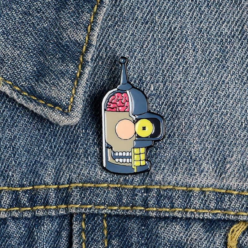Jewelry flying out of the future cute cartoon brooch student enamel badge wholesale NHBO198723