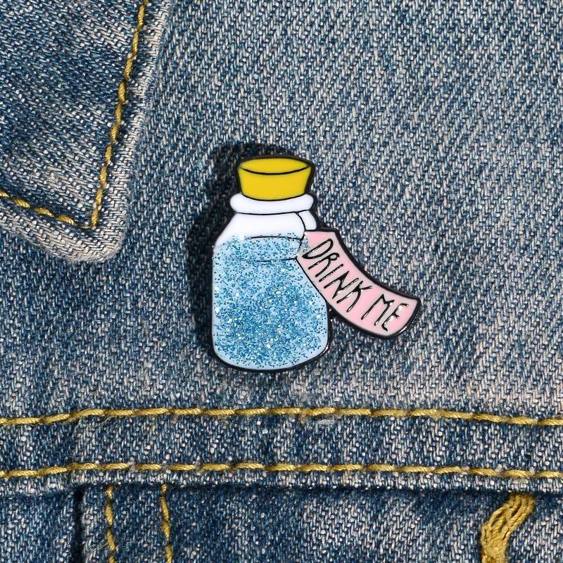New alloy brooch flash drift bottle pin badge cute cartoon student brooch wholesale NHBO198726