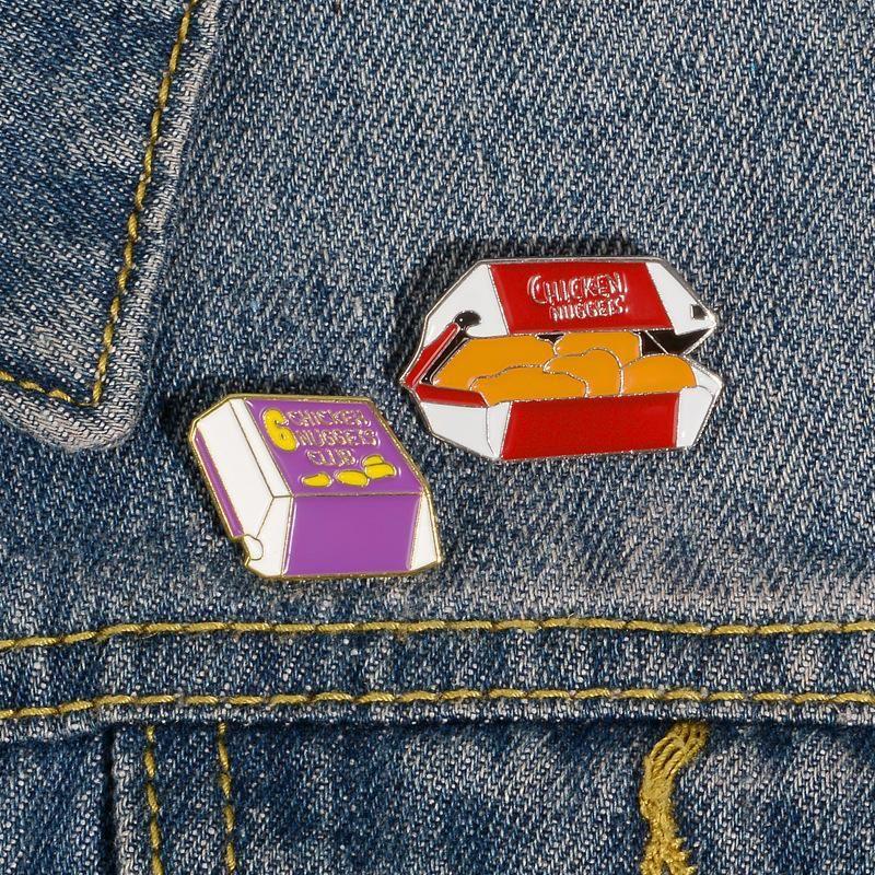 New creative fried chicken club alloy brooch denim pin NHBO198728
