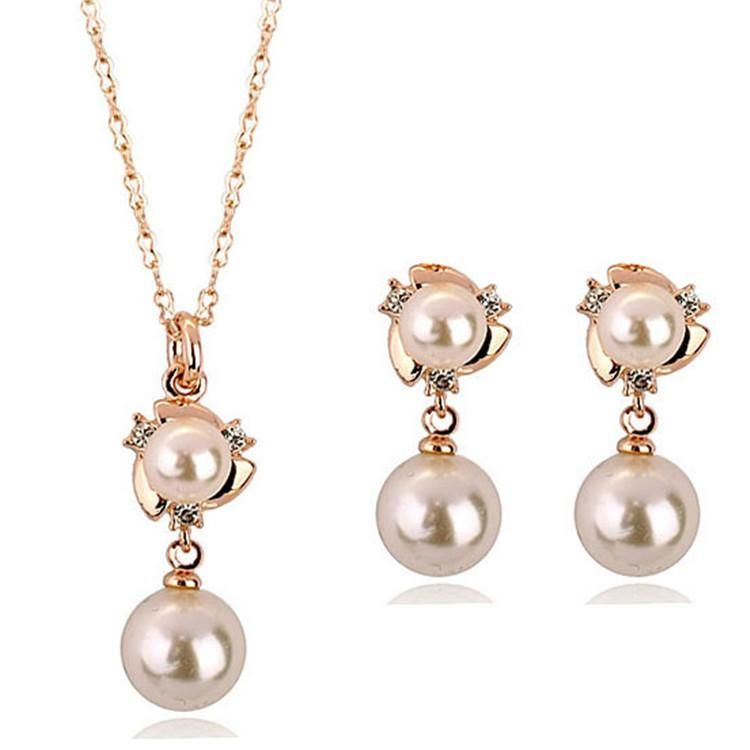 New fashion accessories exquisite diamond double pearl set NHLJ198733