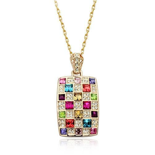 Fashion high-end temperament Queen crystal necklace exquisite vintage diamond square pendant NHLJ198737