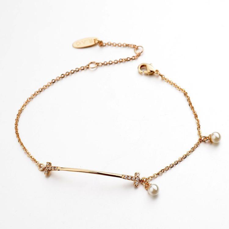 Spring and summer new exquisite diamond pendant alloy pendant simple bracelet pearl decoration bracelet NHLJ198738